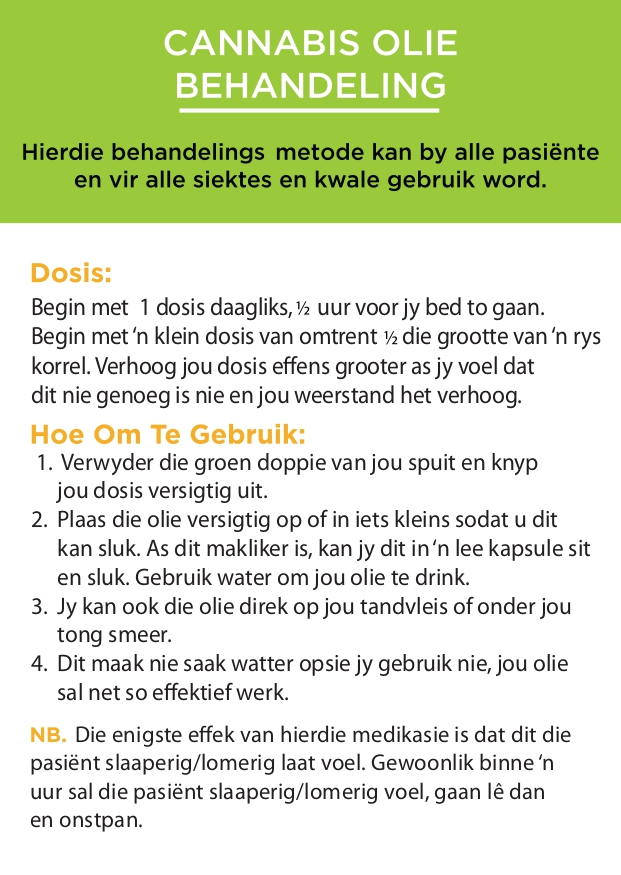 Dosage instructions in Afrikaans